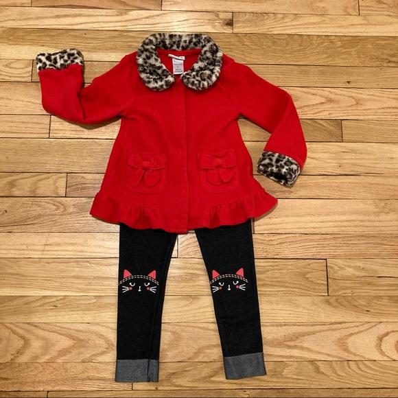Little Lass 2piece Red & Leopard Jacket w Leggings